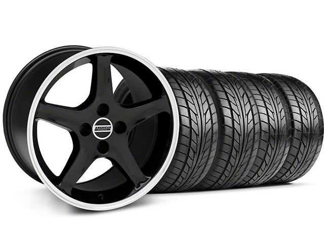 Staggered 1995 Cobra R Style Black Wheel & NITTO Tire Kit - 17x8/10 (87-93; Excludes 93 Cobra)