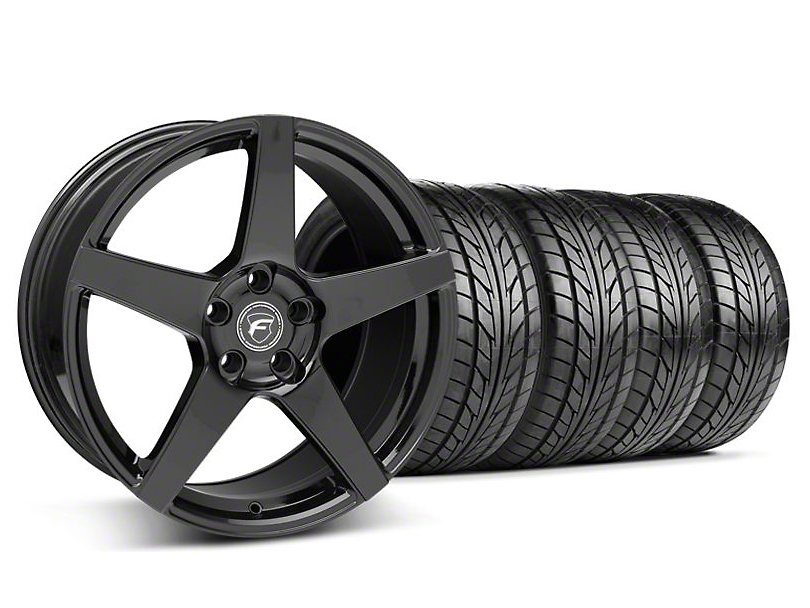 Forgestar Staggered CF5 Piano Black Wheel & NITTO Tire Kit - 18x9/10 (05-14 All)