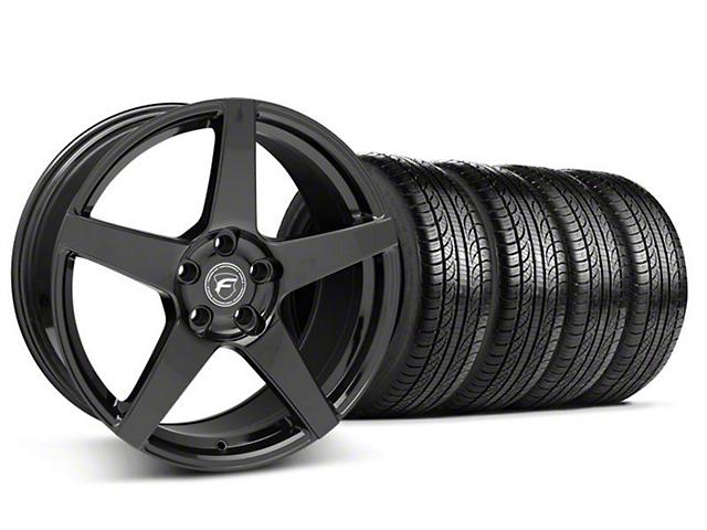 Forgestar CF5 Monoblock Piano Black Wheel & Pirelli Tire Kit - 19x9 (05-14 All)