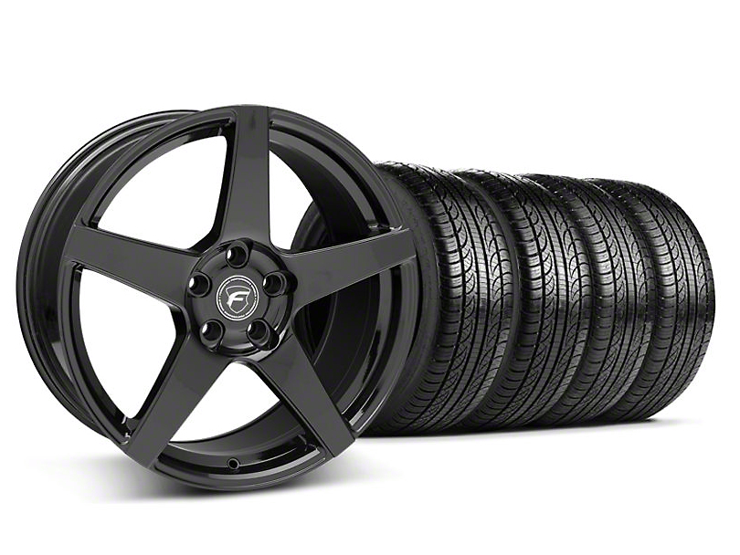 Staggered Forgestar CF5 Piano Black Wheel & Pirelli Tire Kit - 19x9/10 (05-14 All)