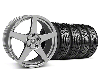 Staggered Gunmetal Forgestar CF5 Wheel & Pirelli Tire Kit - 19x9/10 (05-14 All)