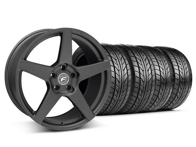 Staggered Forgestar CF5 Matte Black Wheel & NITTO Tire Kit - 18x9/10 (05-14 All)