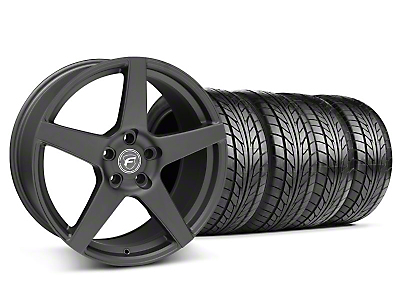 Forgestar Staggered CF5 Matte Black Wheel & NITTO Tire Kit - 18x9/10 (05-14 All)