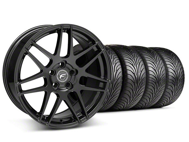 Staggered Forgestar F14 Piano Black Wheel & Sumitomo Tire Kit - 18x9/10 (05-14 All)