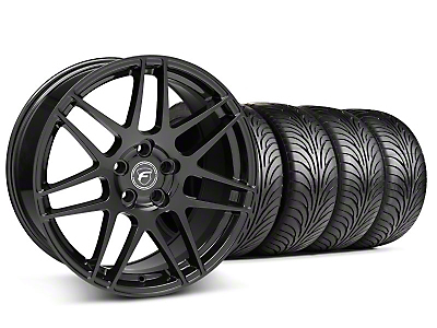 Staggered Piano Black Forgestar F14 Wheel & Sumitomo Tire Kit - 18x9/10 (05-14 All)