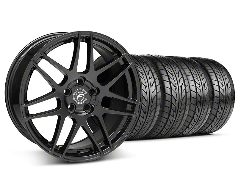 Forgestar Staggered F14 Piano Black Wheel & NITTO Tire Kit - 18x9/10 (05-14 All)