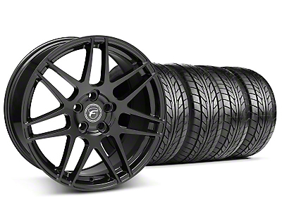 Staggered Piano Black Forgestar F14 Wheel & NITTO Tire Kit - 18x9/10 (05-14 All)