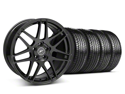 Forgestar Staggered F14 Piano Black Wheel & Pirelli Tire Kit - 19x9/10 (05-14 All)
