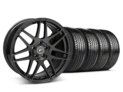 Staggered Piano Black Forgestar F14 Wheel & Pirelli Tire Kit - 19x9/10 (05-14 All)