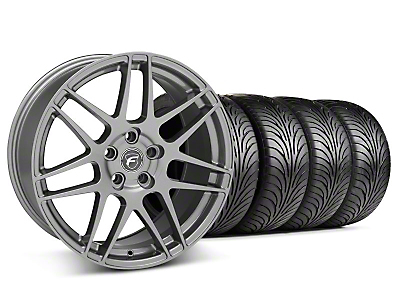 Staggered Gunmetal Forgestar F14 Wheel & Sumitomo Tire Kit - 18x9/10 (05-14 All)