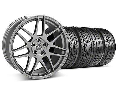 Staggered Gunmetal Forgestar F14 Wheel & NITTO Tire Kit - 18x9/10 (05-14 All)