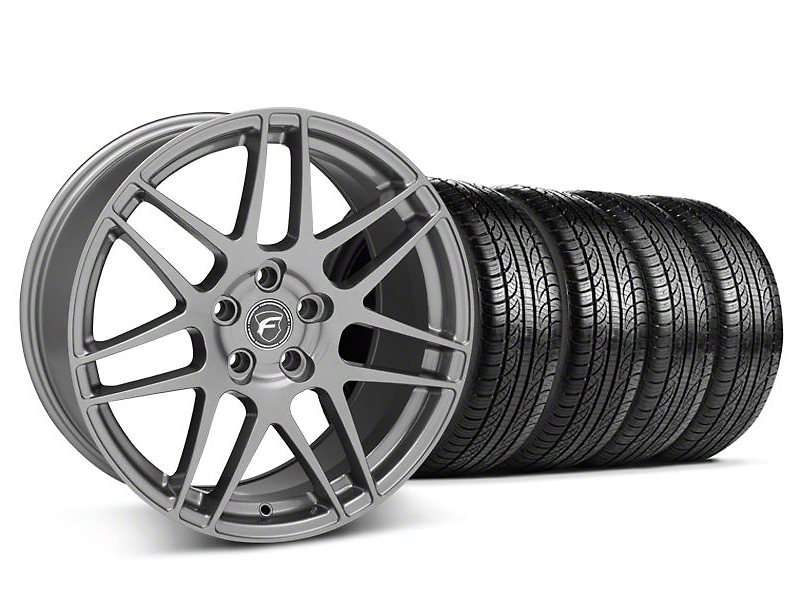 Staggered Forgestar F14 Gunmetal Wheel & Pirelli Tire Kit - 19x9/10 (05-14 All)