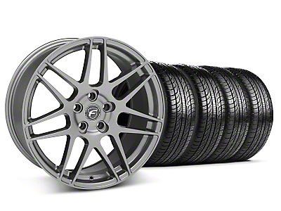 Staggered Gunmetal Forgestar F14 Wheel & Pirelli Tire Kit - 19x9/10 (05-14 All)