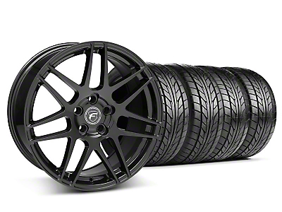 Staggered Matte Black Forgestar F14 Wheel & NITTO Tire Kit - 18x9/10 (05-14 All)