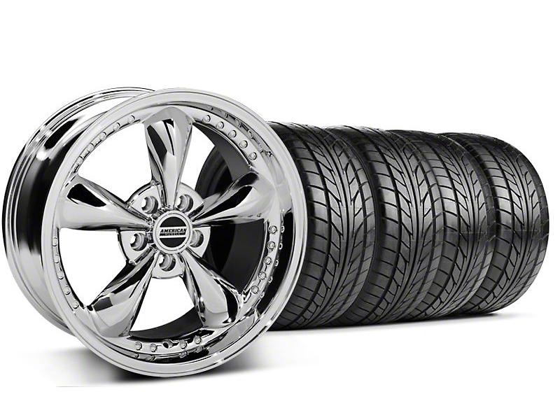 Staggered Bullitt Motorsport Chrome Wheel & NITTO Tire Kit - 18x9/10 (99-04 All)