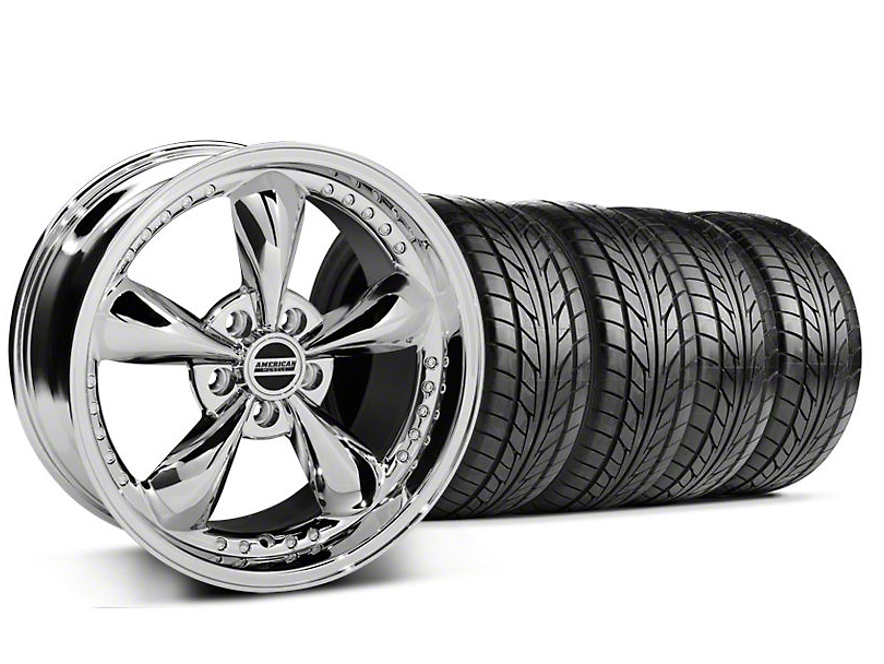 Staggered Bullitt Motorsport Chrome Wheel & NITTO Tire Kit - 18x9/10 (05-14 GT, V6)
