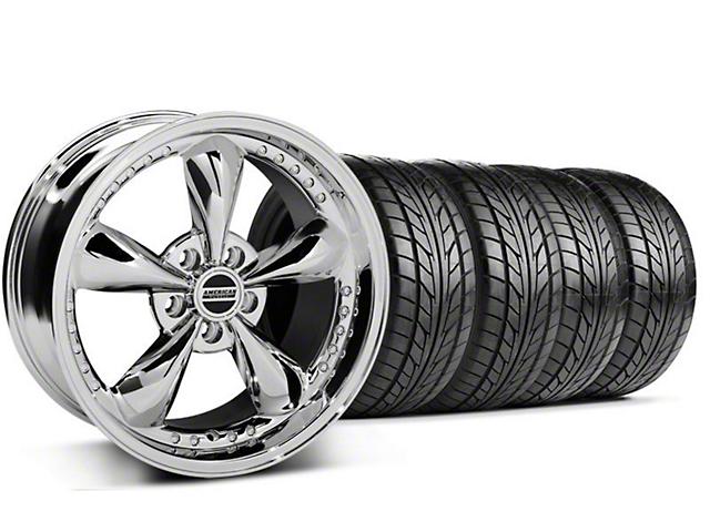 Staggered Bullitt Motorsport Chrome Wheel & NITTO Tire Kit - 18x9/10 (05-14 GT, V6)