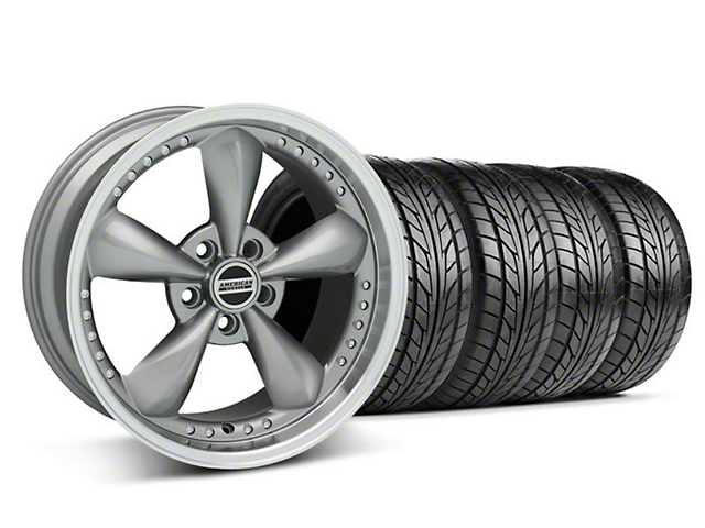Staggered Bullitt Motorsport Anthracite Wheel & NITTO Tire Kit - 18x9/10 (05-14 GT, V6)