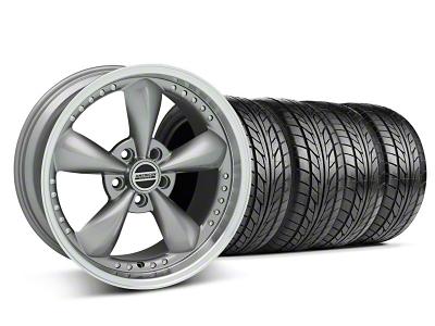 Staggered Bullitt Motorsport Anthracite Wheel & NITTO Tire Kit - 18x9/10 (05-14 GT, V6)