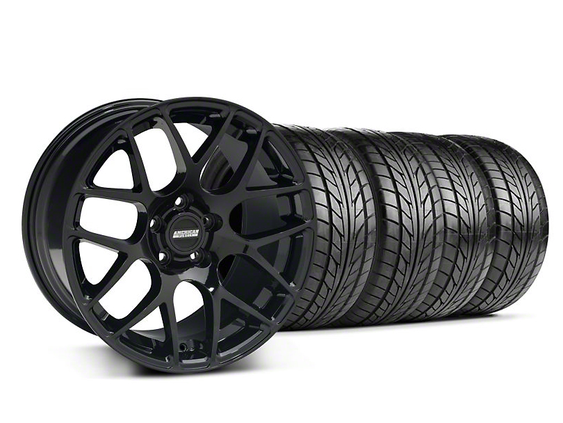 Staggered AMR Black Wheel & NITTO Tire Kit - 18x9/10 (05-14 All)