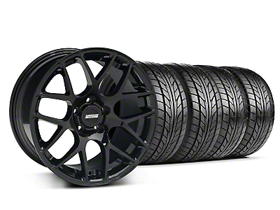 Staggered Black AMR Wheel & NITTO Tire Kit - 18x9/10 (05-14 All)