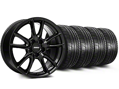 Track Pack Style Staggered Gloss Black Wheel & Mickey Thompson Tire Kit - 18x9/10 (05-14 GT, V6)