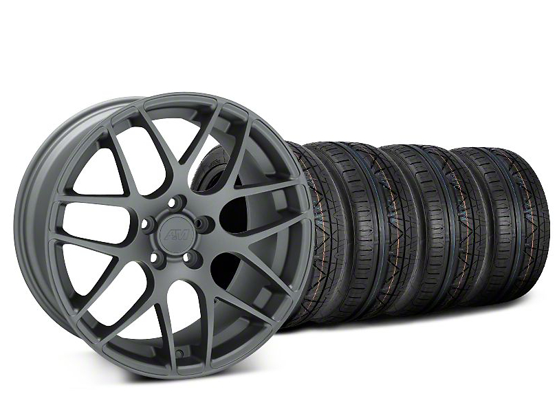 Staggered AMR Charcoal Wheel & NITTO INVO Tire Kit - 19x8.5/10 (05-14 All)