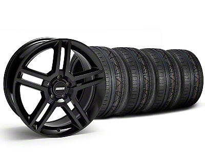 Staggered Black 2010 Style GT500 Wheel & NITTO Invo Tire Kit - 19x8.5/10 (05-14 All)
