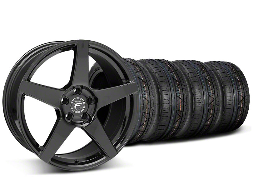 Staggered Forgestar CF5 Piano Black Wheel & NITTO INVO Tire Kit - 19x9/10 (05-14 All)
