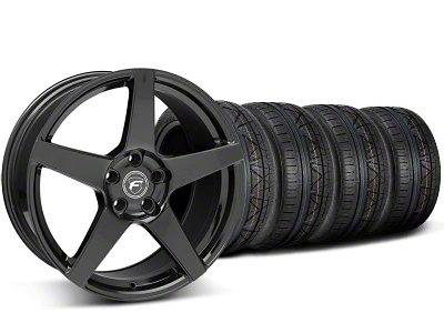 Forgestar Staggered CF5 Piano Black Wheel & NITTO INVO Tire Kit - 19x9/10 (05-14 All)