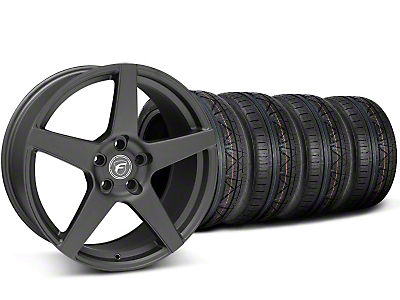 Staggered Matte Black Forgestar CF5 Wheel & Nitto Invo Tire Kit - 19x9/10 (05-14 All)