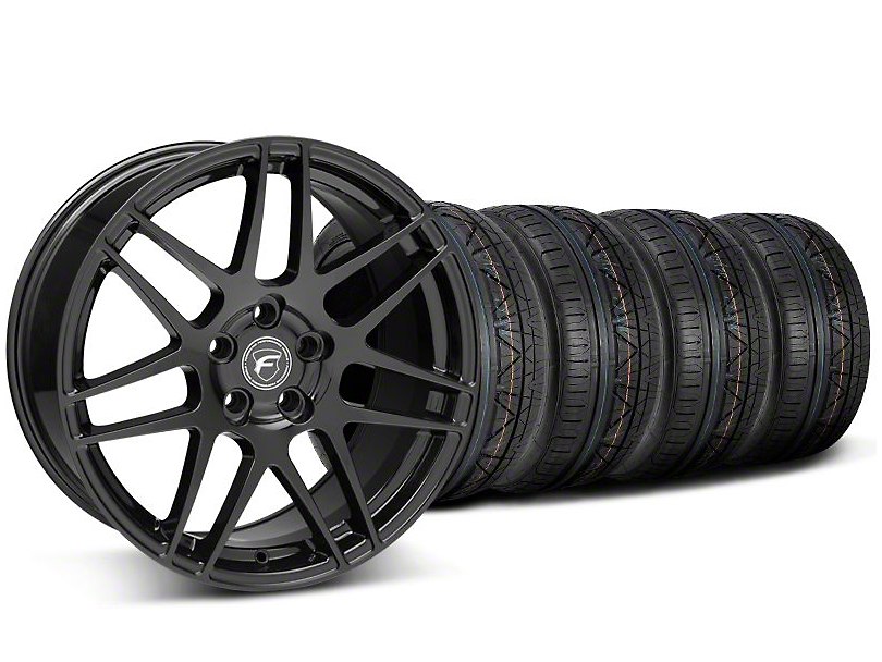 Forgestar Staggered F14 Piano Black Wheel & NITTO INVO Tire Kit - 19x9/10 (05-14 All)