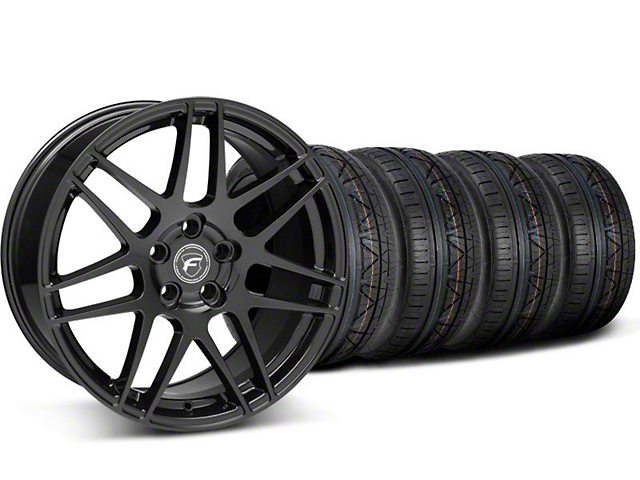 Staggered Forgestar F14 Piano Black Wheel & NITTO INVO Tire Kit - 19x9/10 (05-14 All)
