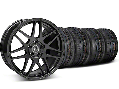 Staggered Piano Black Forgestar F14 Wheel & Nitto Invo Tire Kit - 19x9/10 (05-14 All)