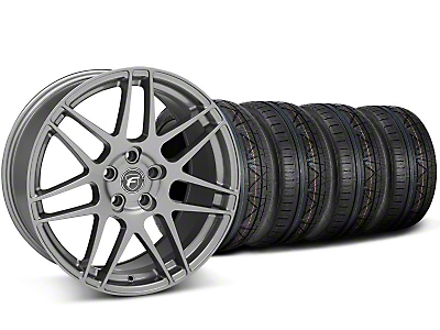 Staggered Gunmetal Forgestar F14 Wheel & Nitto Invo Tire Kit - 19x9/10 (05-14 All)