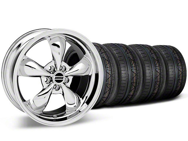 Staggered Bullitt Chrome Wheel & NITTO INVO Tire Kit - 19x8.5/10 (05-14 GT, V6)