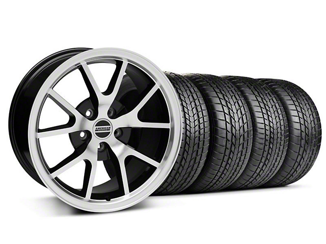 Staggered FR500 Style Black Machined Wheel & Sumitomo Tire Kit - 17x9/10.5 (99-04 All)