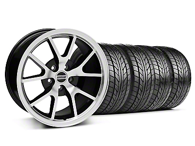 Staggered FR500 Style Black Machined Wheel & NITTO Tire Kit - 17x9/10.5 (99-04 All)