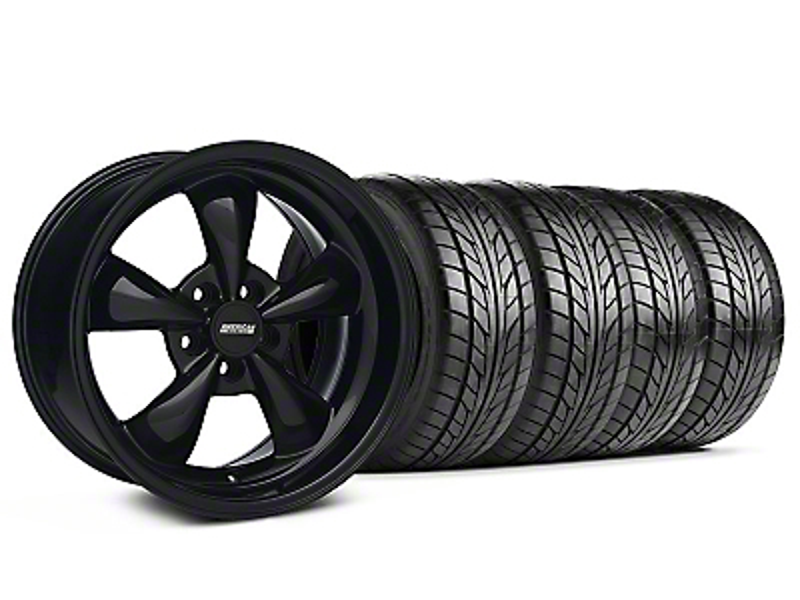 Staggered Bullitt Solid Black Wheel & NITTO Tire Kit - 18x9/10 (05-14 GT, V6)