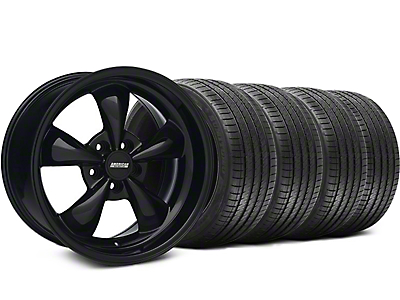 Staggered Solid Black Bullitt Wheel & Sumitomo Tire Kit 18x9/10 (05-10 GT; 05-14 V6)