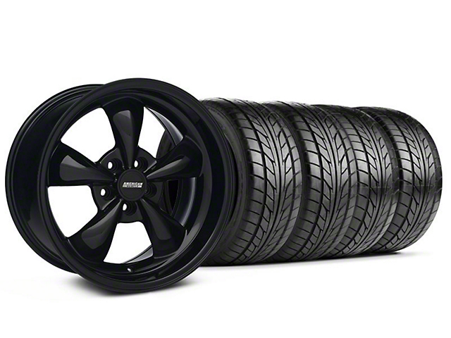 Staggered Bullitt Solid Black Wheel & NITTO Tire Kit - 17x9/10.5 (99-04 All)