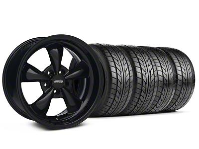 Staggered Bullitt Solid Black Wheel & NITTO Tire Kit - 17x9/10.5 (99-04 All)