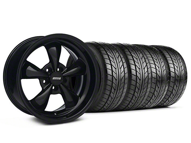 Staggered Bullitt Solid Black Wheel & NITTO Tire Kit - 18x9/10 (94-98 All)