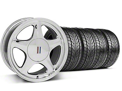 Chrome Pony Style Wheel & NITTO Tire Kit- 17x8 (87-93; Excludes 93 Cobra)