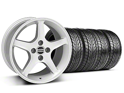 Silver 1995 Style Cobra R Wheel & NITTO Tire Kit - 17x9 (87-93; Excludes 93 Cobra)