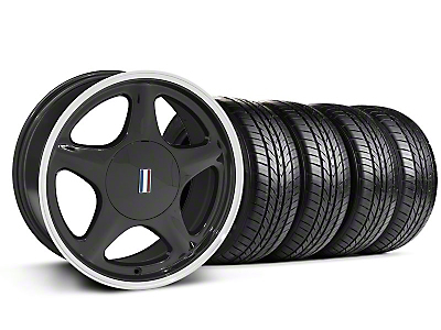 Black w/Machined Lip Pony Style Wheel & Sumitomo All Season Tire Kit- 17x8 (87-93; Excludes 93 Cobra)