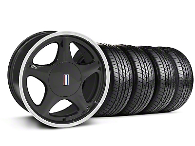 Black w/Machined Lip Pony Style Wheel & Sumitomo All Season Tire Kit- 17x9 (87-93; Excludes 93 Cobra)