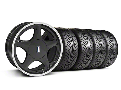 Pony Black w/ Machined Lip Wheel & Sumitomo Tire Kit - 17x8 (87-93; Excludes 93 Cobra)