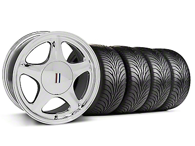 Chrome Pony Style Wheel & Sumitomo Tire Kit- 17x8 (87-93; Excludes 93 Cobra)