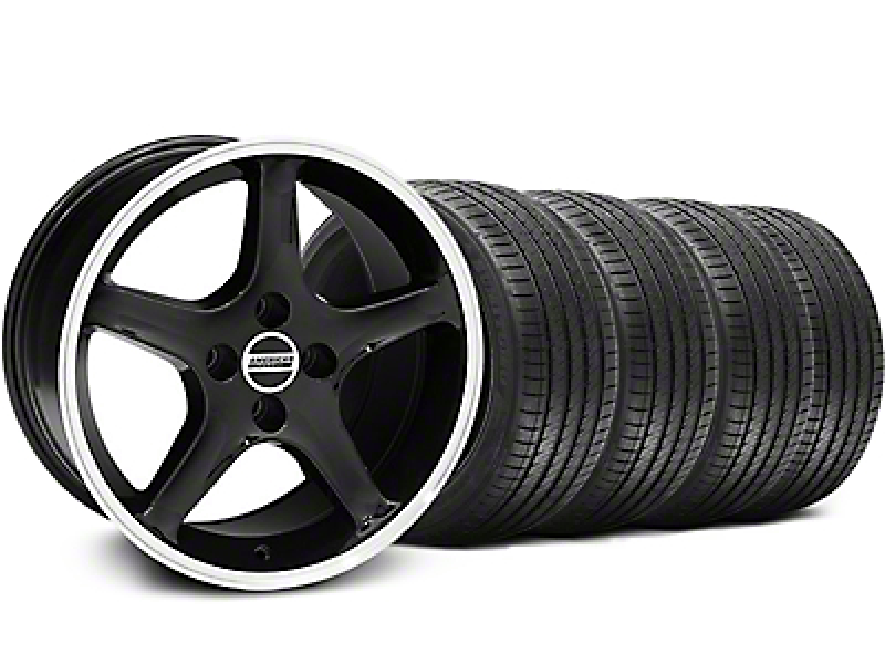 1995 Cobra R Style Black w/ Machined Lip Wheel & Sumitomo Tire Kit - 17x9 (87-93; Excludes 93 Cobra)
